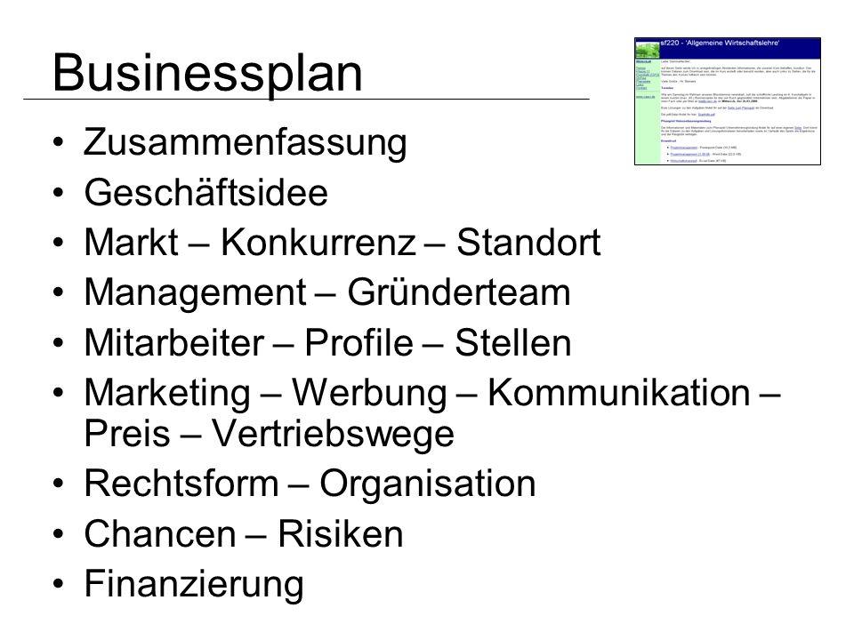 Businessplan Zusammenfassung Geschäftsidee
