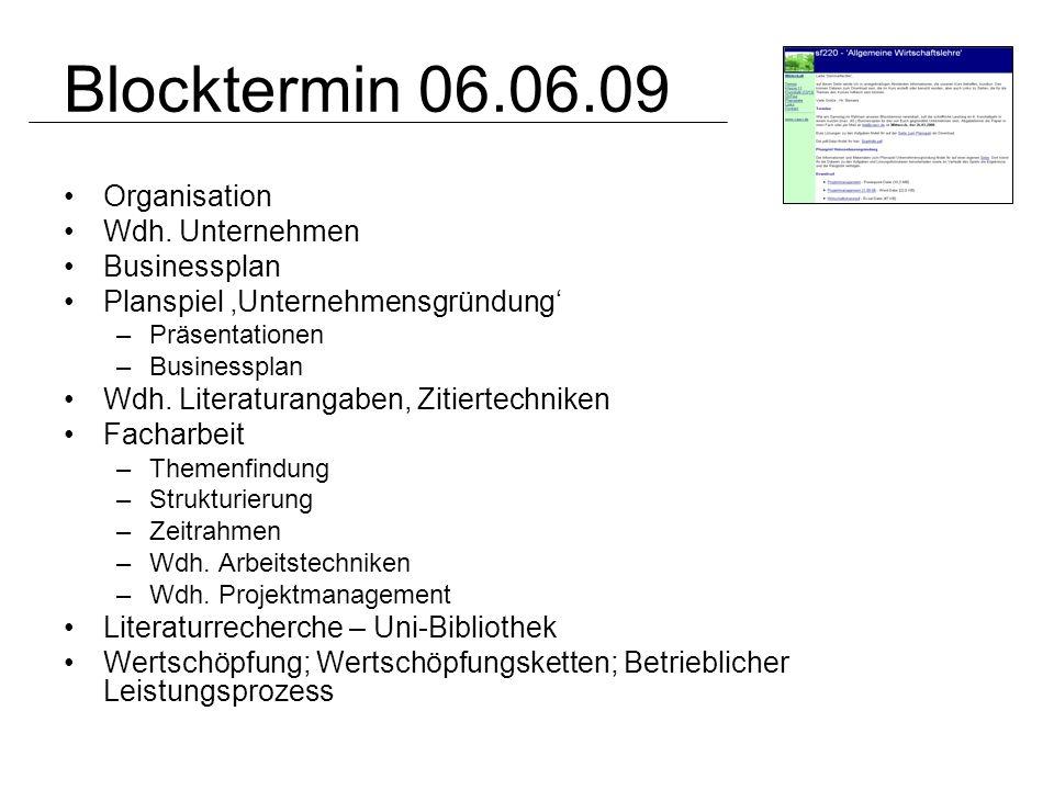 Blocktermin 06.06.09 Organisation Wdh. Unternehmen Businessplan