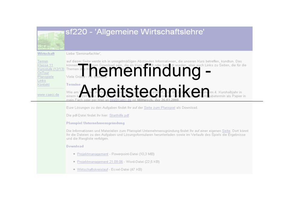 Themenfindung - Arbeitstechniken