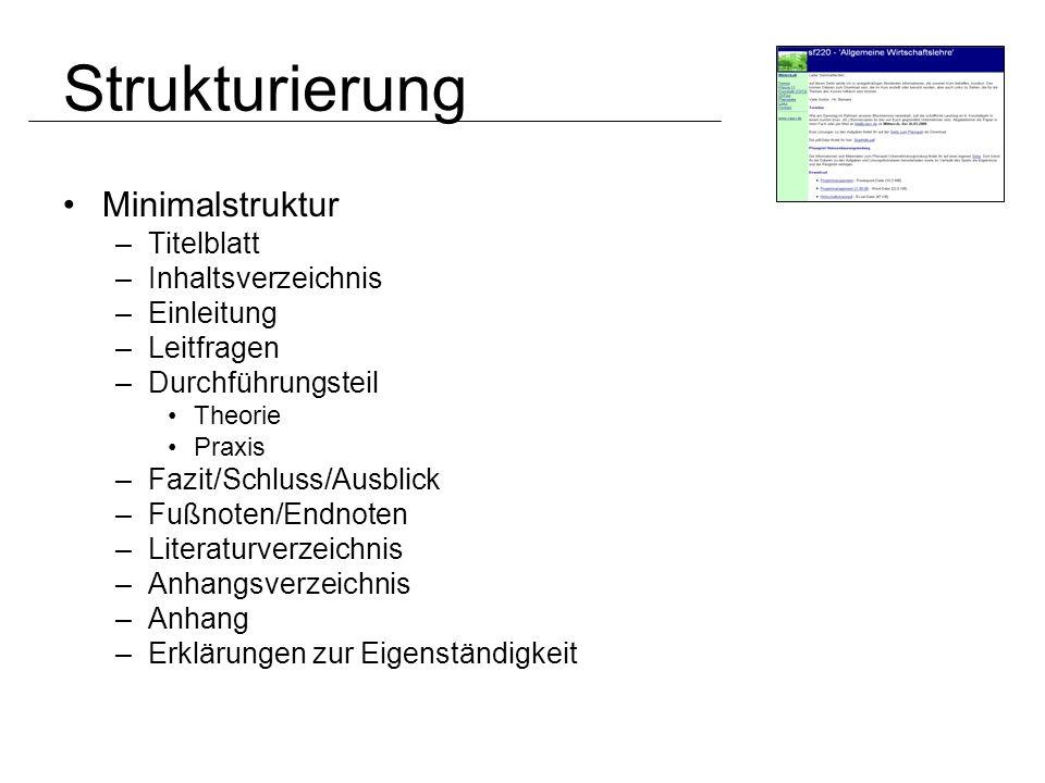 Strukturierung Minimalstruktur Titelblatt Inhaltsverzeichnis