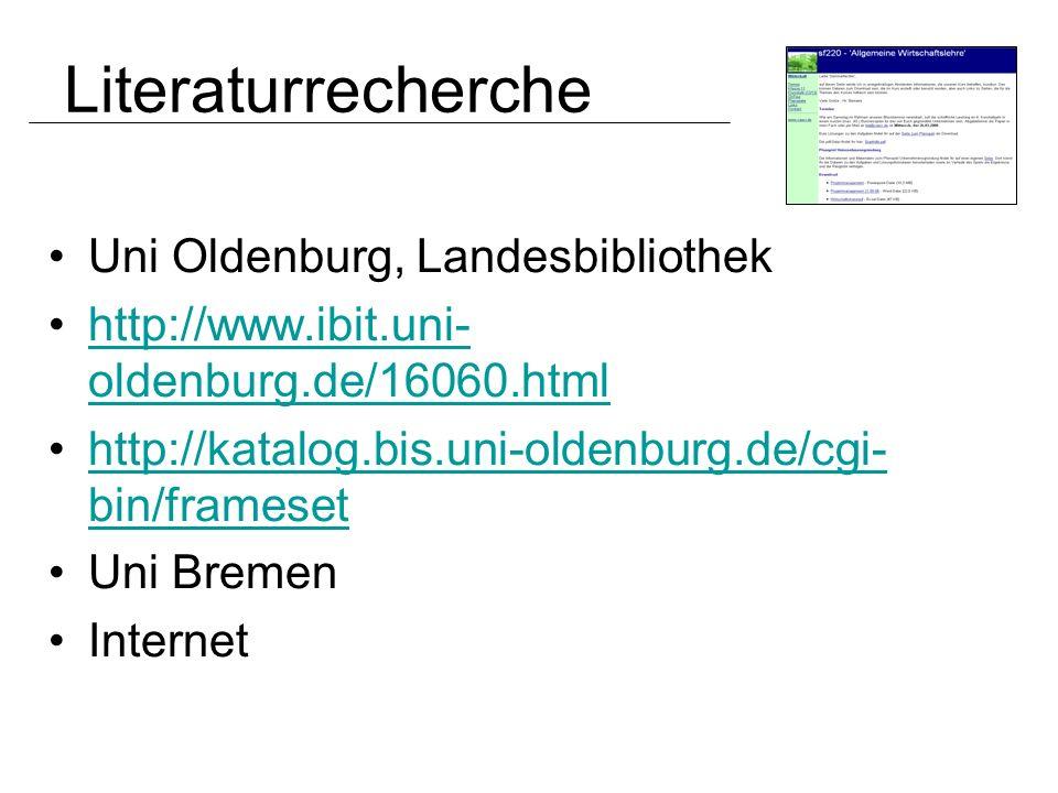 Literaturrecherche Uni Oldenburg, Landesbibliothek