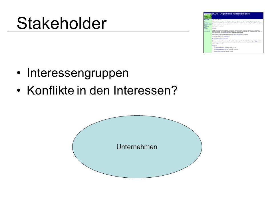 Stakeholder Interessengruppen Konflikte in den Interessen Unternehmen
