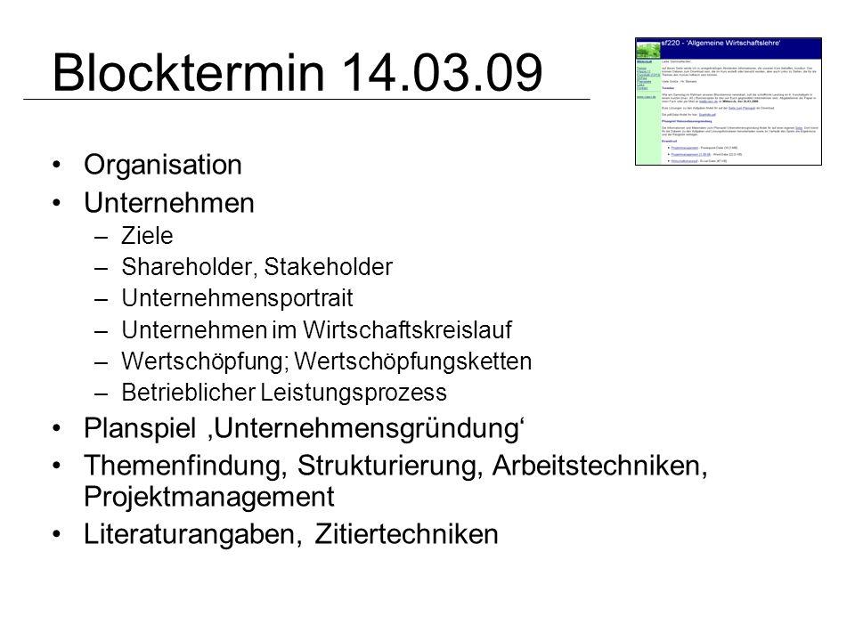 Blocktermin 14.03.09 Organisation Unternehmen
