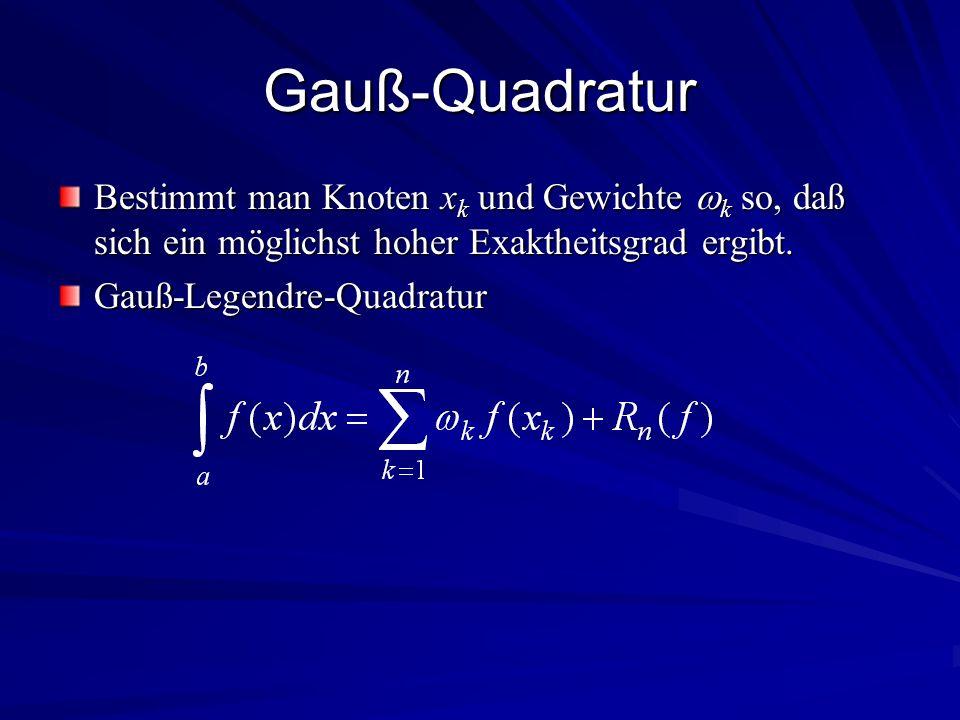 Gauß-Quadratur Bestimmt man Knoten xk und Gewichte k so, daß sich ein möglichst hoher Exaktheitsgrad ergibt.