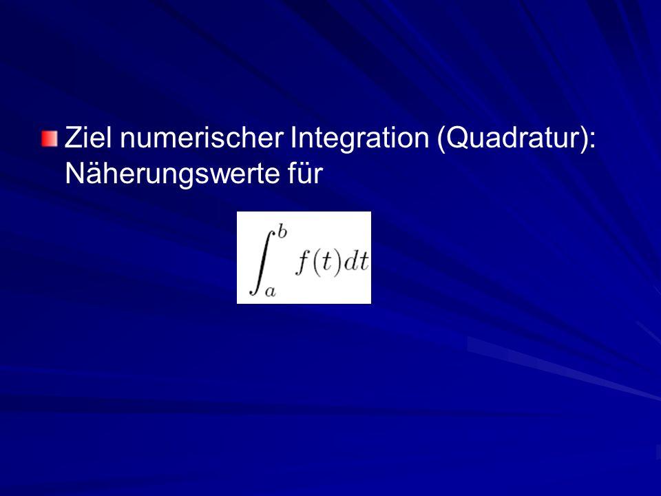 Ziel numerischer Integration (Quadratur): Näherungswerte für