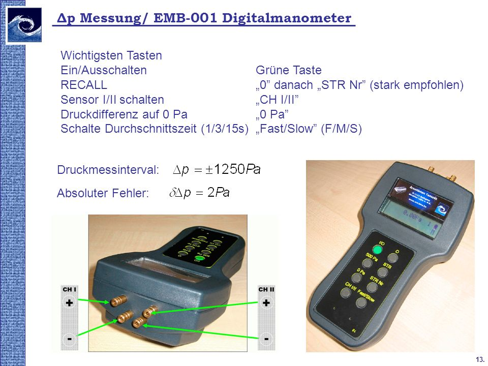 Δp Messung/ EMB-001 Digitalmanometer