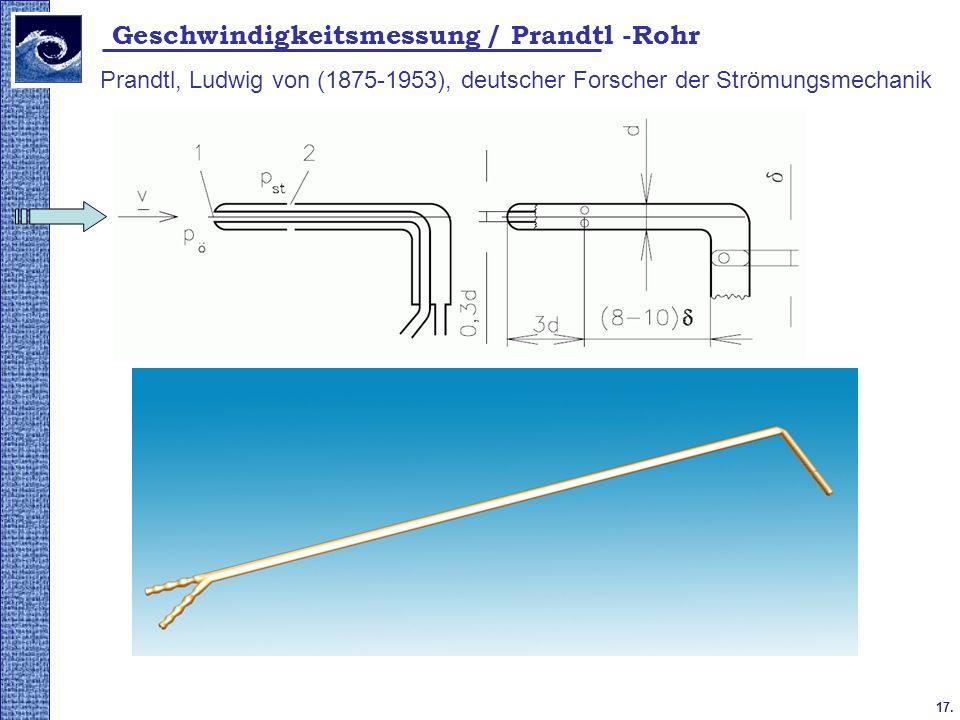 Geschwindigkeitsmessung / Prandtl -Rohr