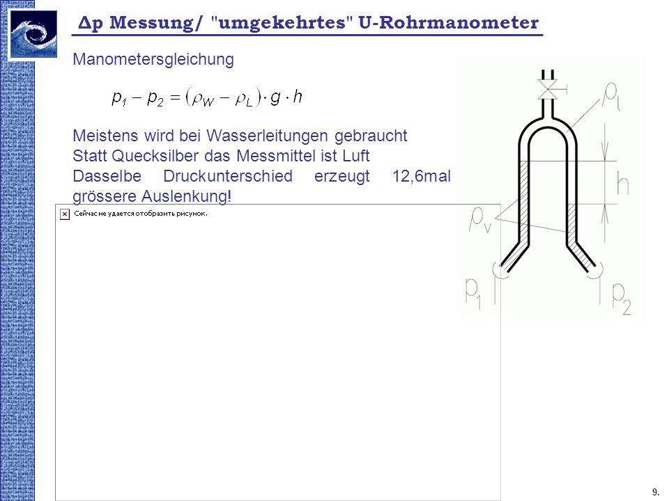 Δp Messung/ umgekehrtes U-Rohrmanometer