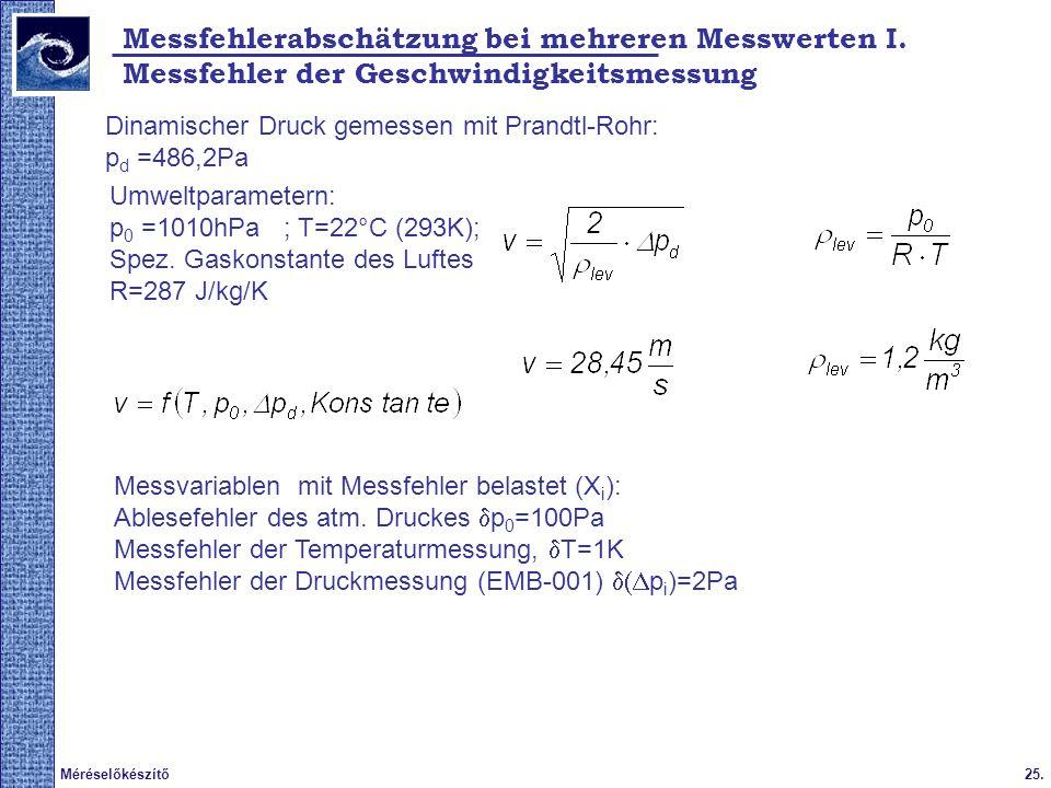 Messfehlerabschätzung bei mehreren Messwerten I.