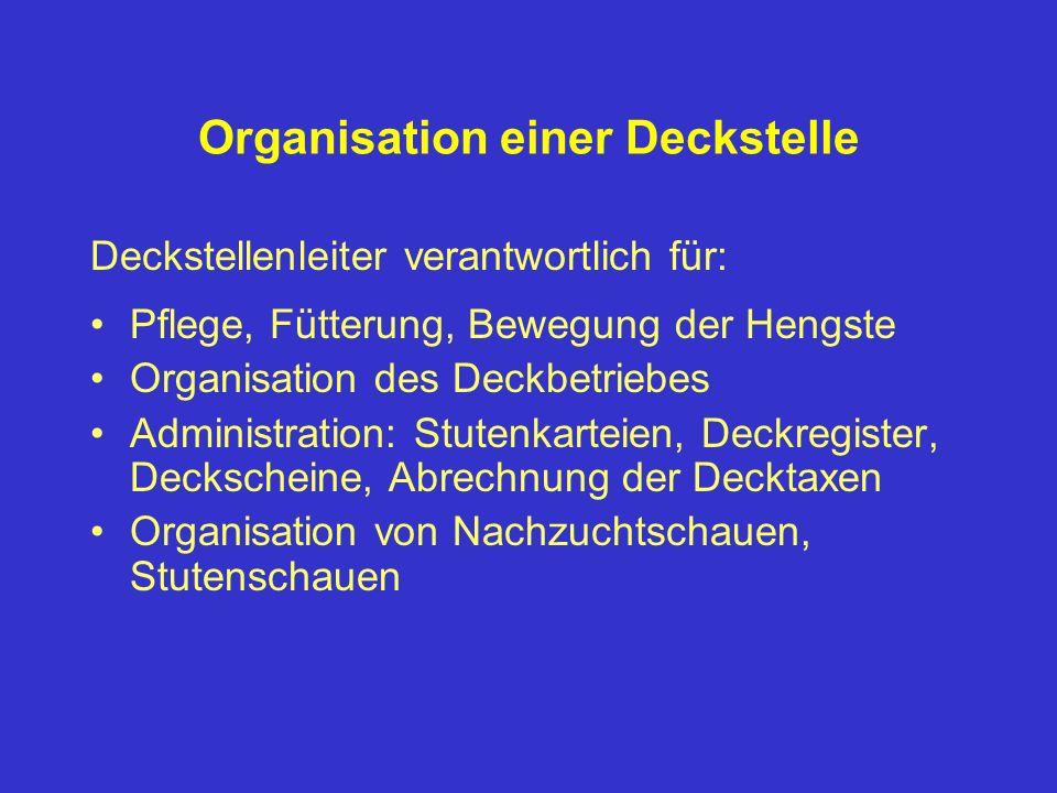 Organisation einer Deckstelle