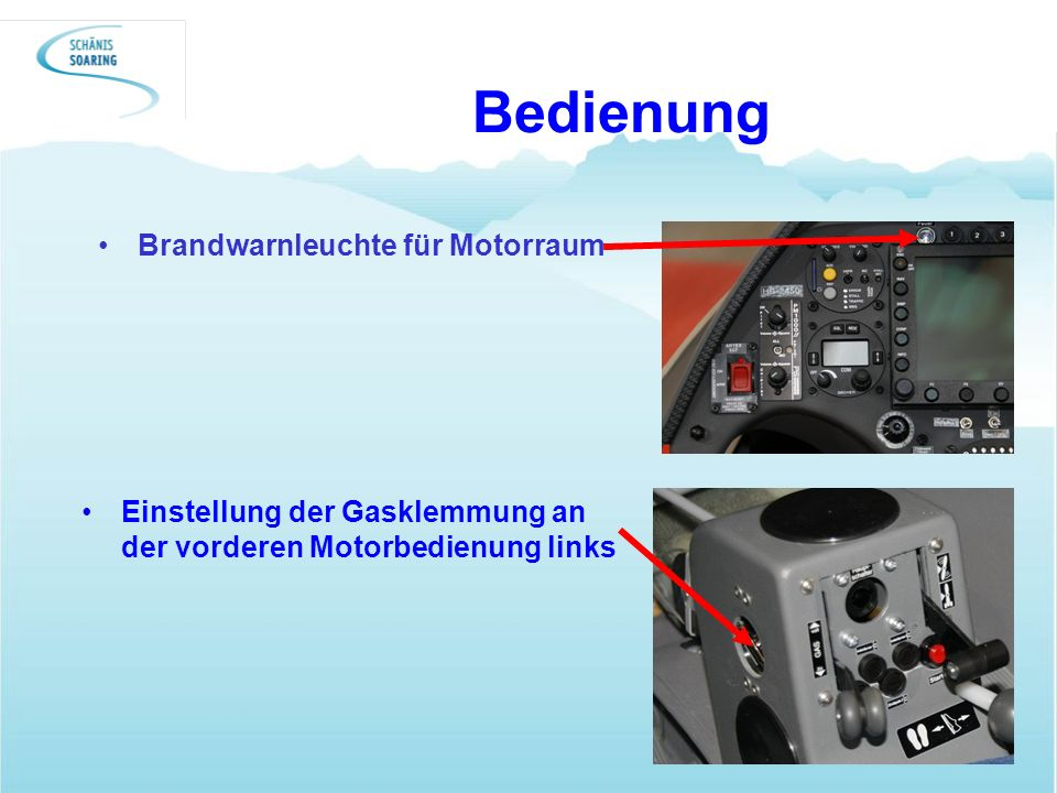 Bedienung Brandwarnleuchte für Motorraum