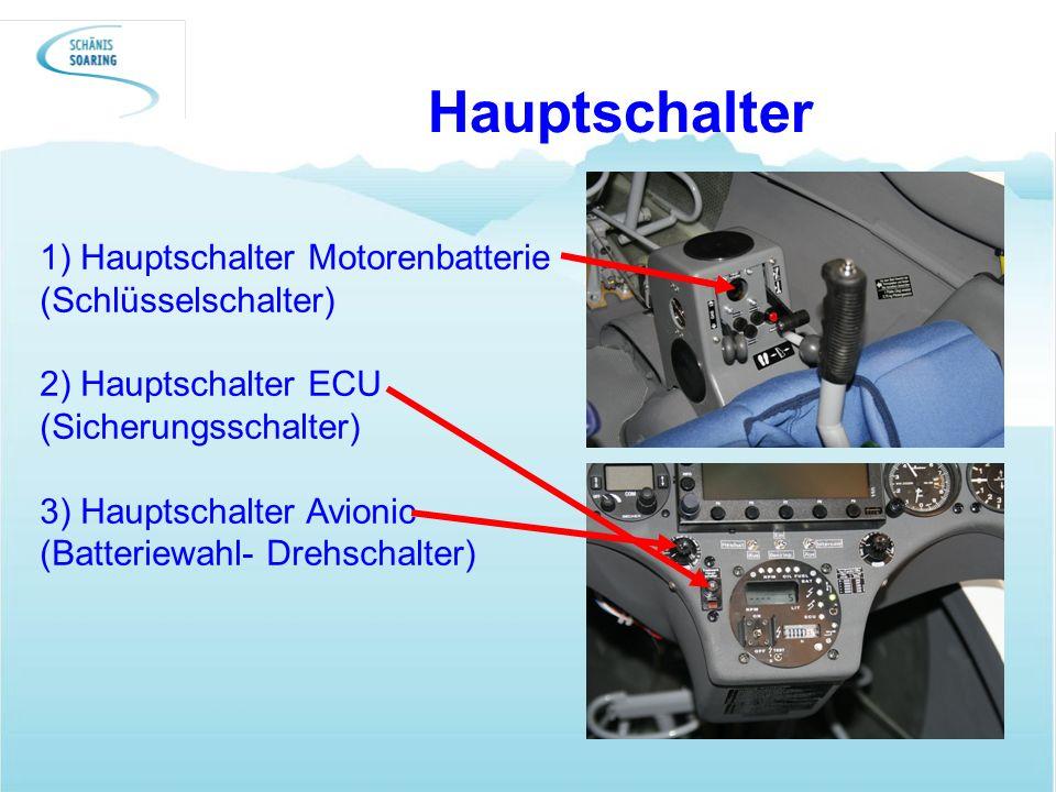 Hauptschalter 1) Hauptschalter Motorenbatterie (Schlüsselschalter)