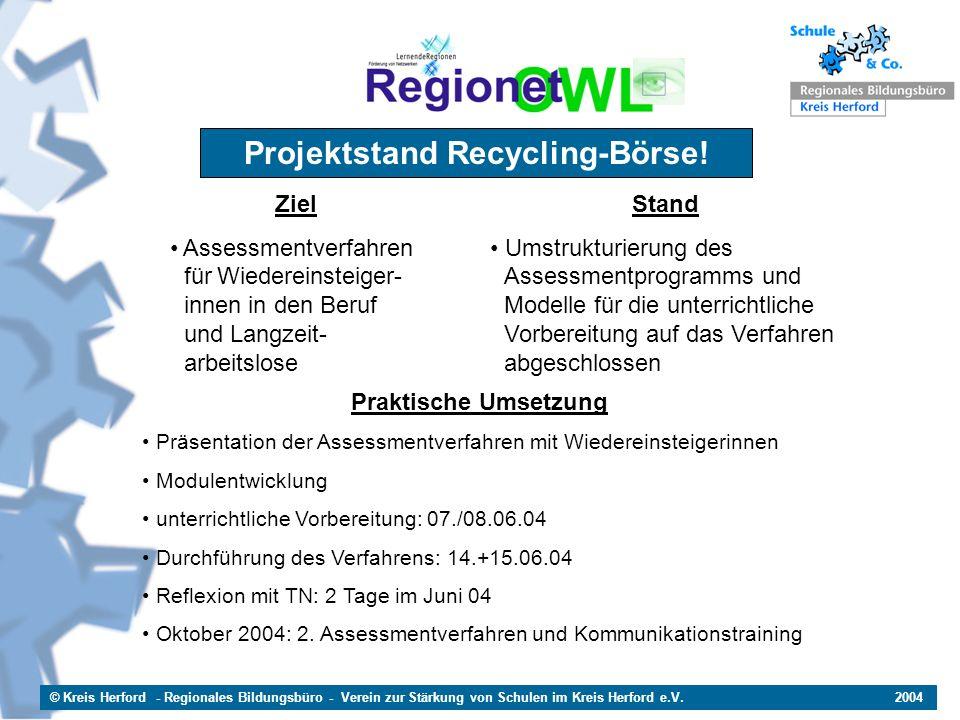 Projektstand Recycling-Börse!