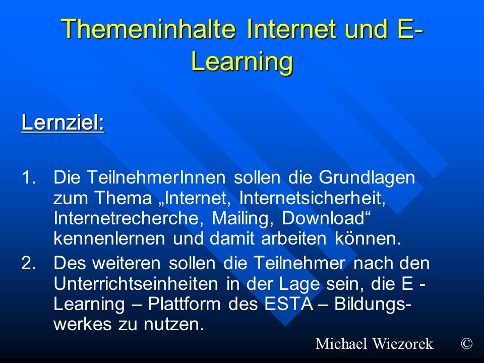 Themeninhalte Internet und E-Learning