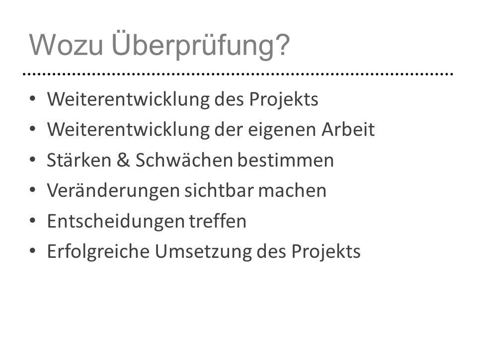Wozu Überprüfung Weiterentwicklung des Projekts
