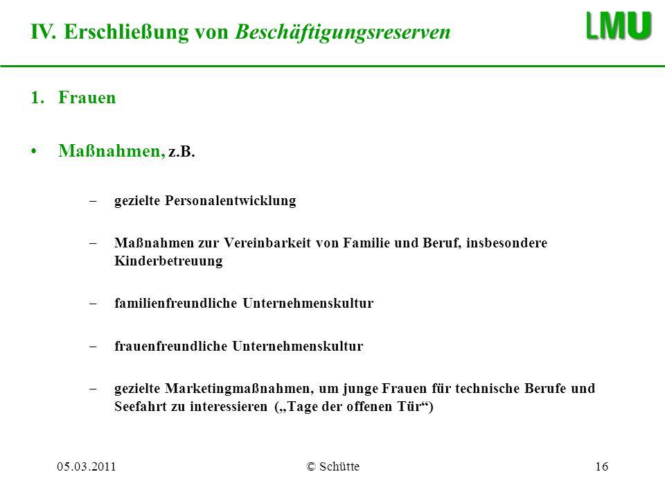 IV. Erschließung von Beschäftigungsreserven