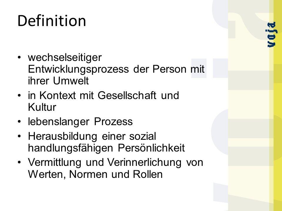 Definition wechselseitiger Entwicklungsprozess der Person mit ihrer Umwelt. in Kontext mit Gesellschaft und Kultur.