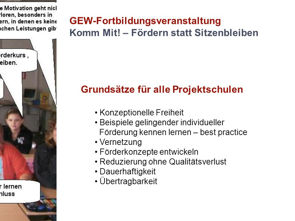 GEW-Fortbildungsveranstaltung Komm Mit! – Fördern statt Sitzenbleiben