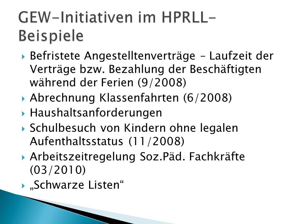 GEW-Initiativen im HPRLL- Beispiele