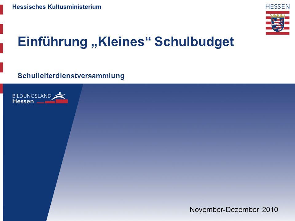 """Einführung """"Kleines Schulbudget"""