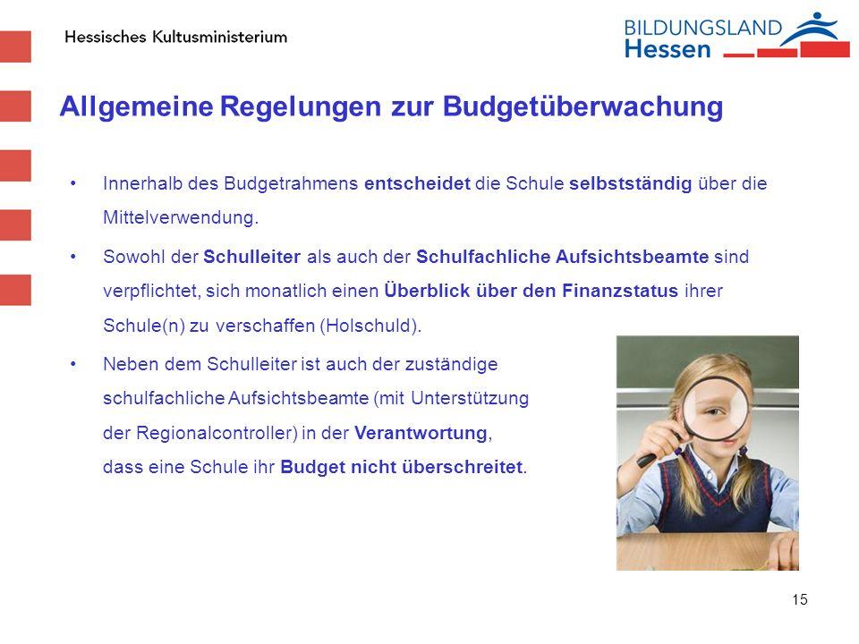 Allgemeine Regelungen zur Budgetüberwachung