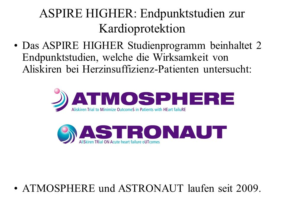 ASPIRE HIGHER: Endpunktstudien zur Kardioprotektion
