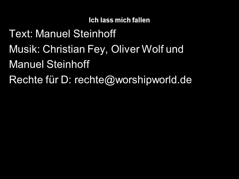 Text: Manuel Steinhoff Musik: Christian Fey, Oliver Wolf und