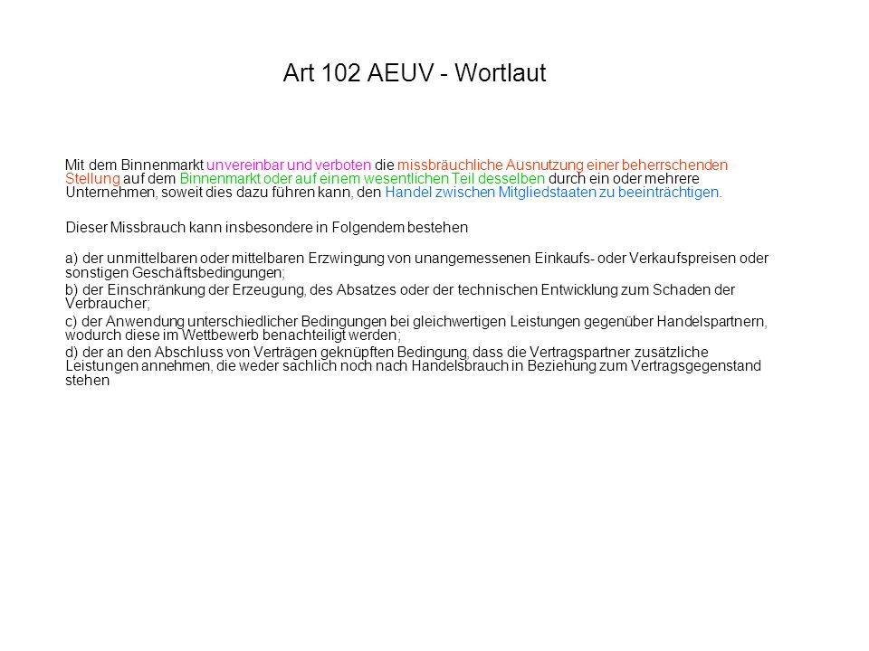 Art 102 AEUV - Wortlaut