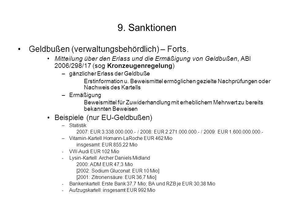 9. Sanktionen Geldbußen (verwaltungsbehördlich) – Forts.
