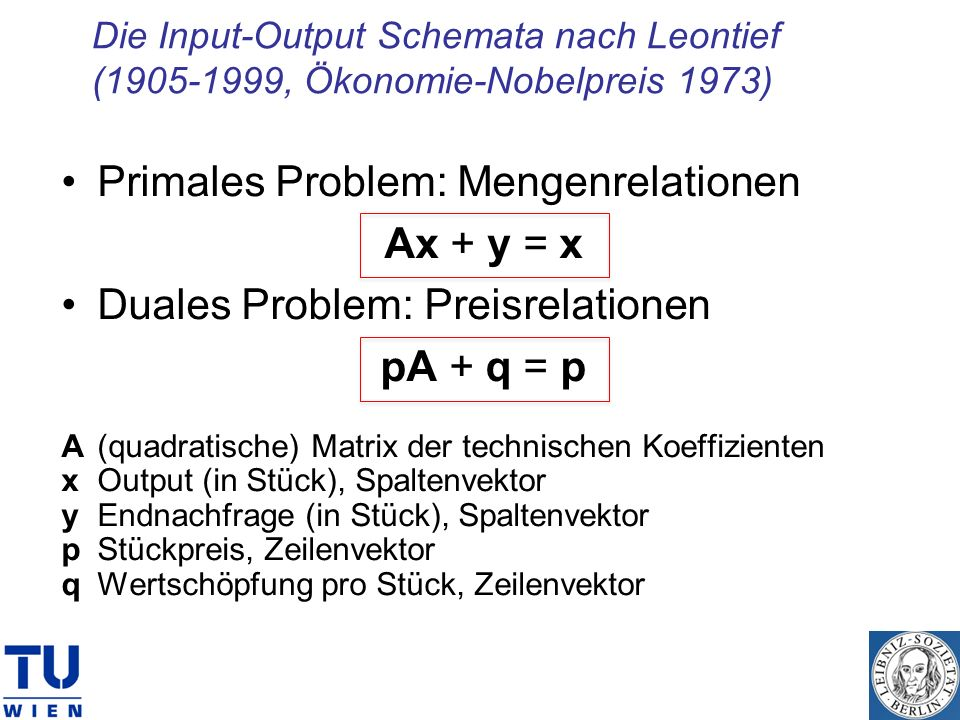 Primales Problem: Mengenrelationen Ax + y = x