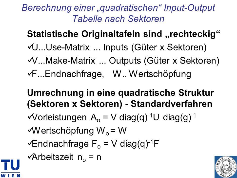"""Berechnung einer """"quadratischen Input-Output Tabelle nach Sektoren"""