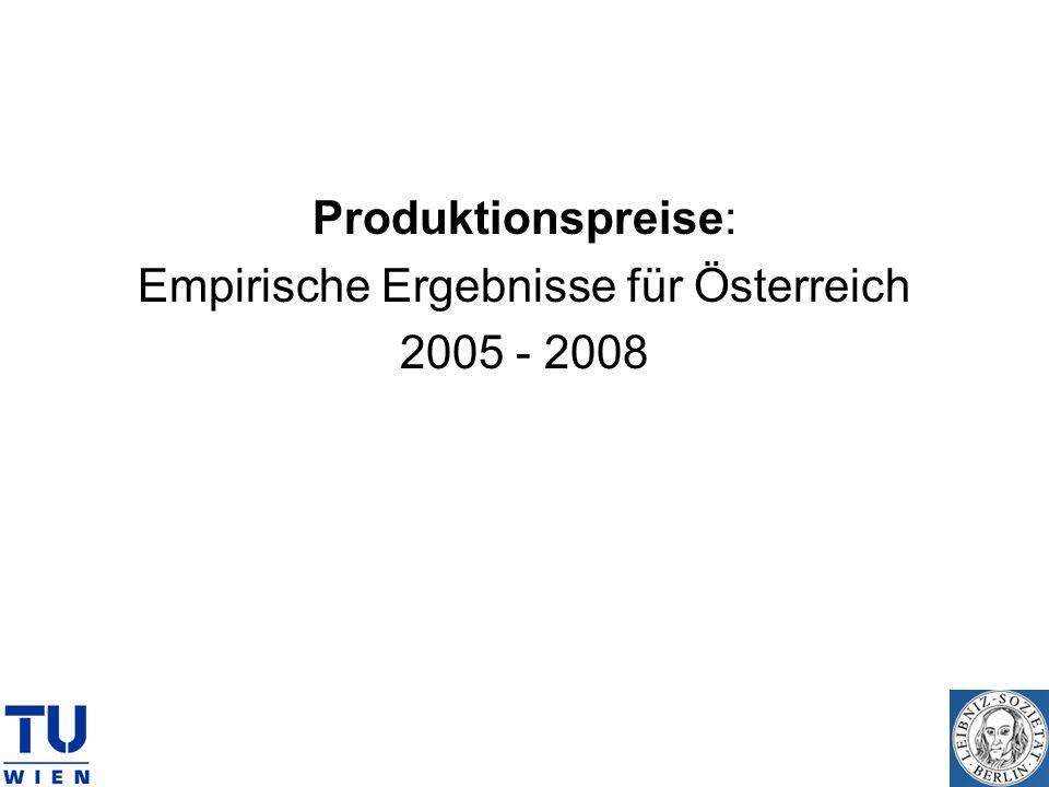 Produktionspreise: Empirische Ergebnisse für Österreich 2005 - 2008