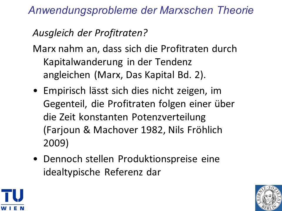 Anwendungsprobleme der Marxschen Theorie
