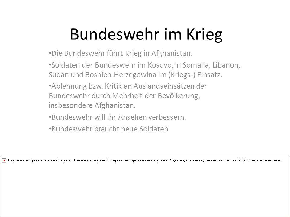 Bundeswehr im Krieg Die Bundeswehr führt Krieg in Afghanistan.