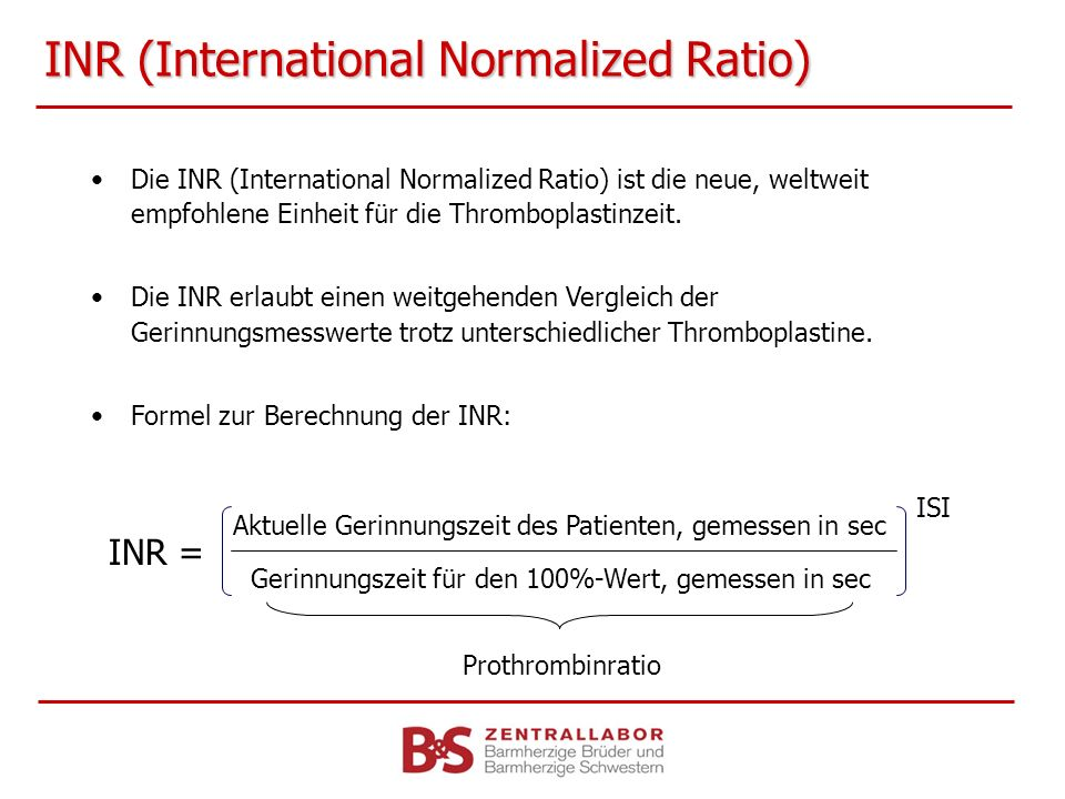 INR (International Normalized Ratio)