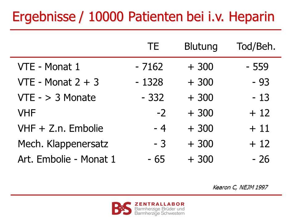 Ergebnisse / 10000 Patienten bei i.v. Heparin