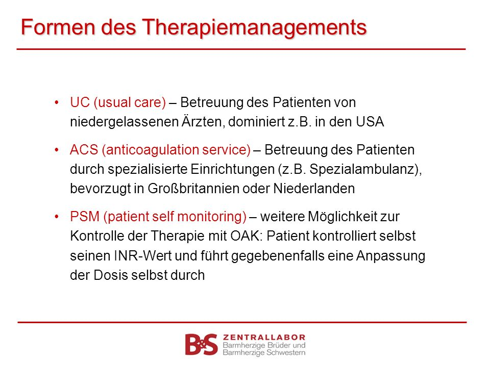 Formen des Therapiemanagements