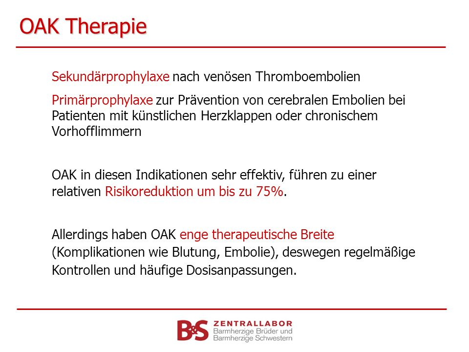 OAK Therapie Sekundärprophylaxe nach venösen Thromboembolien