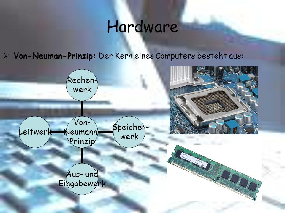 Hardware Von-Neuman-Prinzip: Der Kern eines Computers besteht aus: