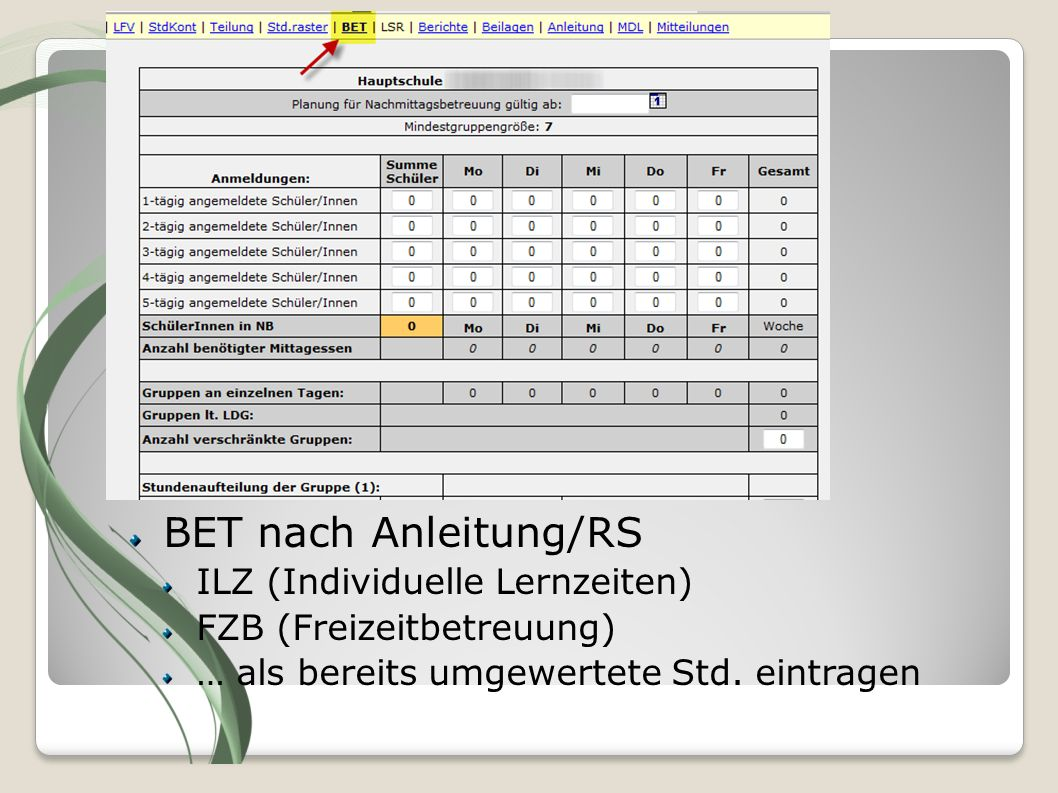 Eröffnungsmeldung LFV-Status: BET nach Anleitung/RS E… Editiermodus
