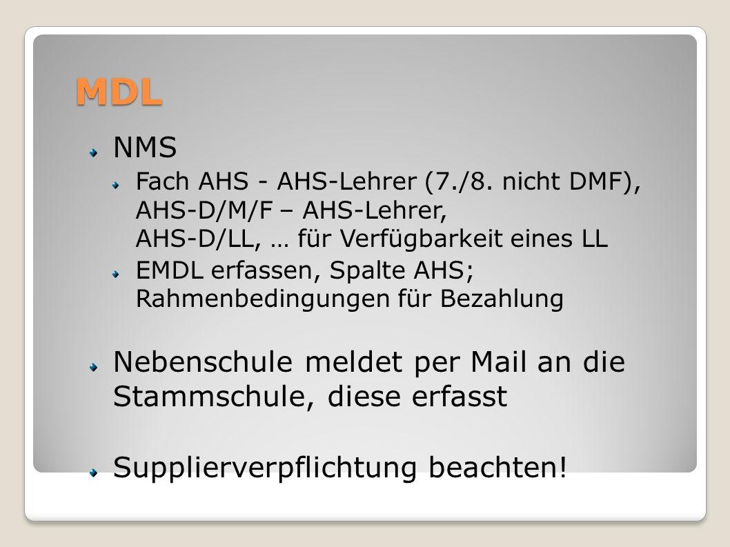 MDL NMS Nebenschule meldet per Mail an die Stammschule, diese erfasst