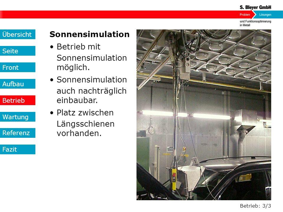 Sonnensimulation • Betrieb mit • Sonnensimulation • möglich.