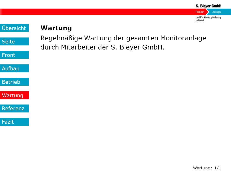 Regelmäßige Wartung der gesamten Monitoranlage