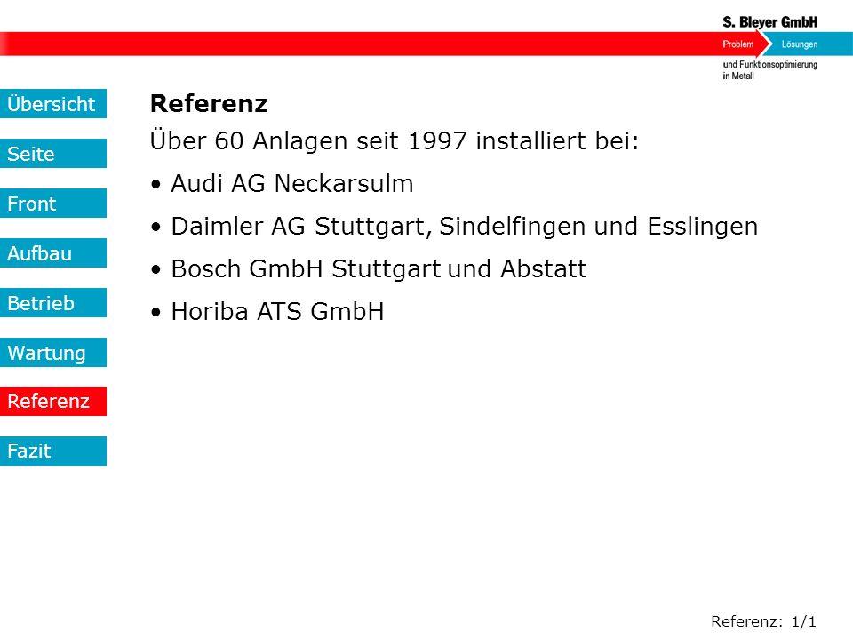 Über 60 Anlagen seit 1997 installiert bei: • Audi AG Neckarsulm