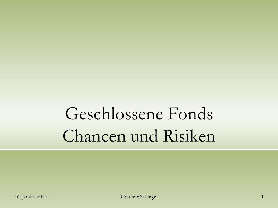 Geschlossene Fonds Chancen und Risiken