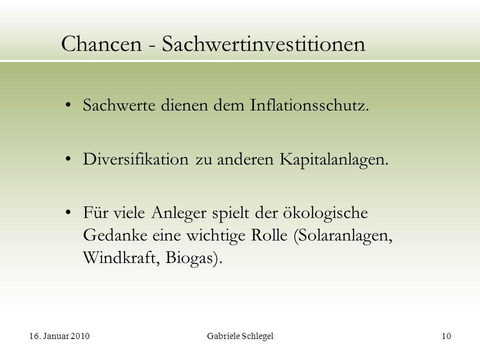 Chancen - Sachwertinvestitionen