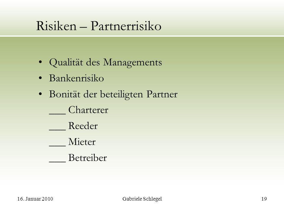 Risiken – Partnerrisiko