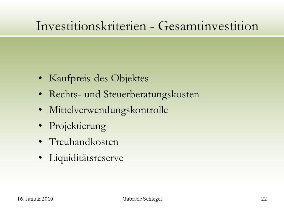 Investitionskriterien - Gesamtinvestition