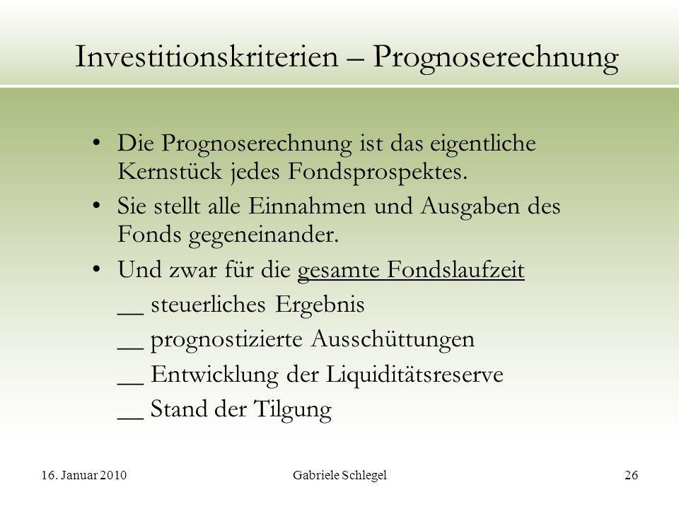 Investitionskriterien – Prognoserechnung