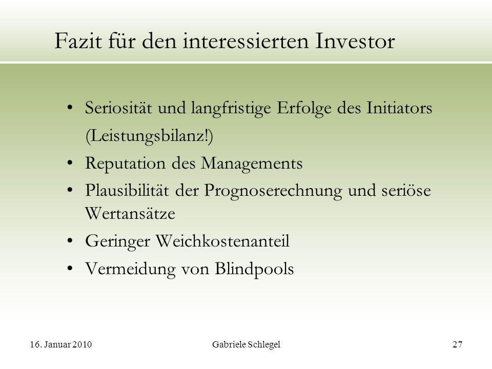 Fazit für den interessierten Investor